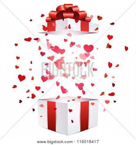 Valentine white background with gift and hearts. Vector paper illustration.