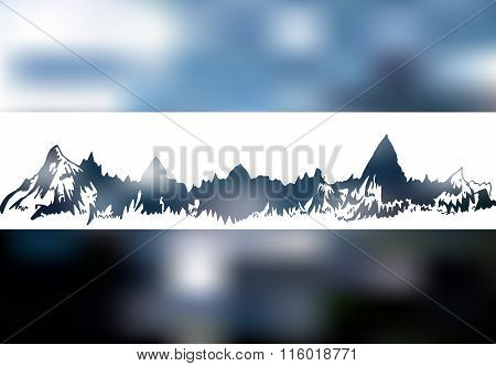 Mountains white landscape on blur neutral background