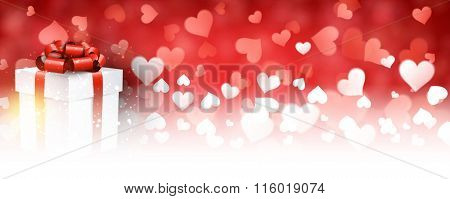 Valentine's red background with gift. Vector paper illustration.