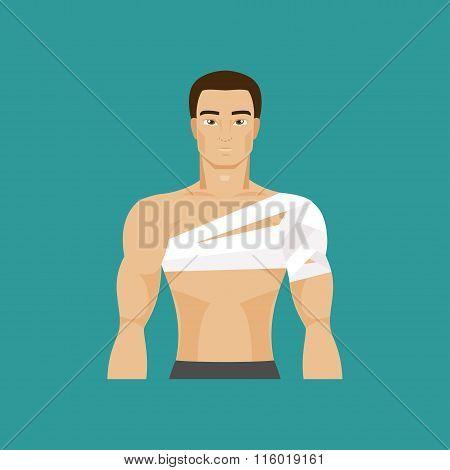 Bandaged Shoulder. Vector Illustration