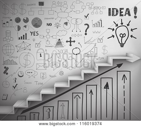 Staircase As Symbol Of Career Rise. Vector Illustration