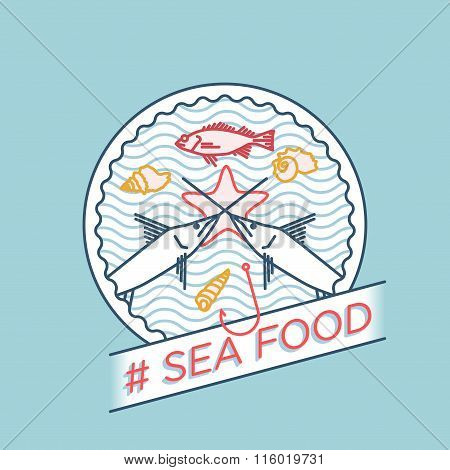 vector line swordfish ocean perch seafood badge