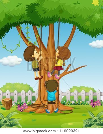 Boys and girl climbing up the tree illustration