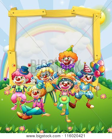 Border design with many clowns illustration