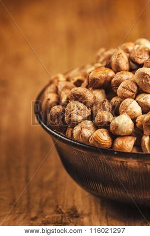 Plenty Of Ripe Hazelnuts In Bowl