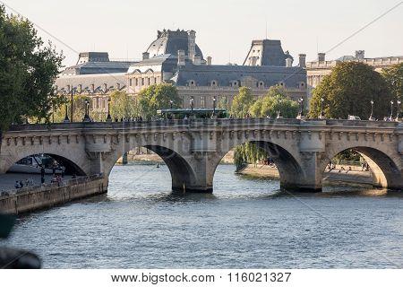 PARIS FRANCE - SEPTEMBER 9 2014: Pont Neuf and Cite Island in Paris France