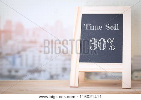 Concept Time Sell 30% message on wood boards