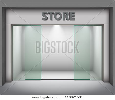 Modern Empty Store Front With Big Windows. Vector Illustration
