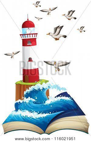 Lighthouse and seagulls at sea illustration