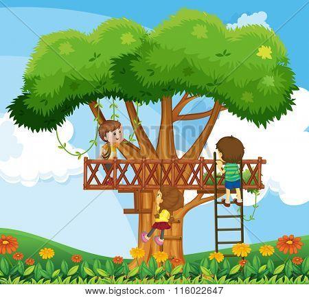 Children climbing up the tree in the garden illustration