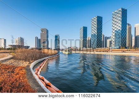 Central Park In Songdo International Business District , Incheon South Korea.
