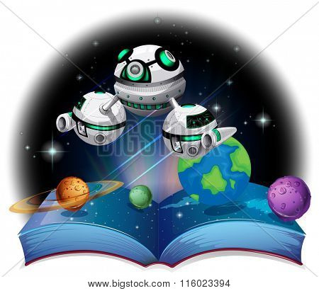 Book of spaceship flying in the galaxy illustration