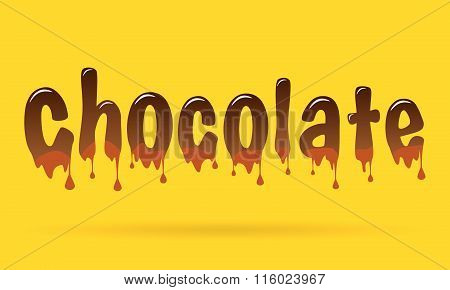 Abstract Creative concept vector chocolate text for Web and Mobile Applications isolated on yellow b