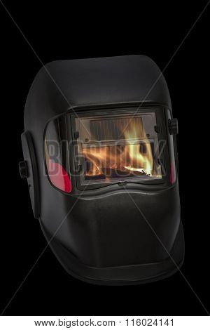 Firefighters Mask, Welding Mask, Isolated On Black Background, With Clipping Path