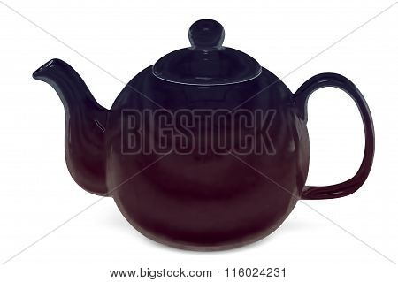 Brown Teapot, Isolated On White Background, With Clipping Path