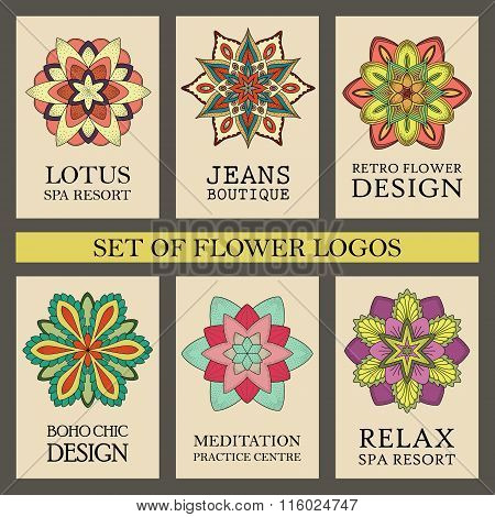 Colorful Flowers Logos Set