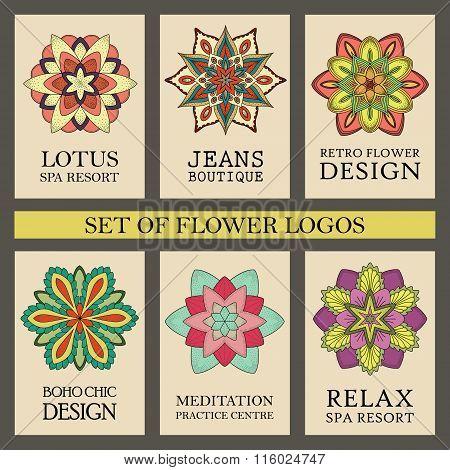 Colorful Flowers Logos Set