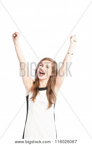 Successful Business Woman Rasing Arms Up In The Air.