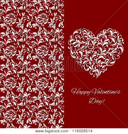 Elegant Greeting Postcard For Valentine's Day. Heart From Floral Ornament.