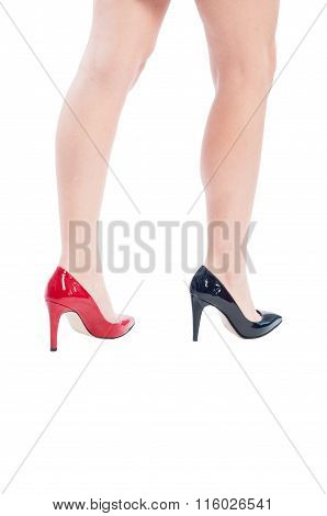 Long Sexy Legs With Black And Red Shoes