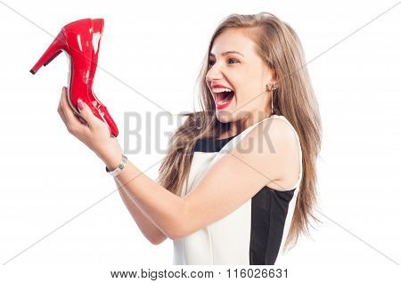 Very Excited Woman Holding High Heel Red Shoes