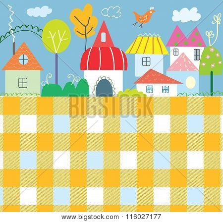 Background For Kids With Town And Pattern - Funny Design