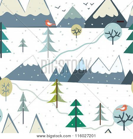 Mountains At Winter Season Seamless Pattern - Funny Design
