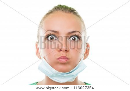 Dentist Assistant Making Funny Face.