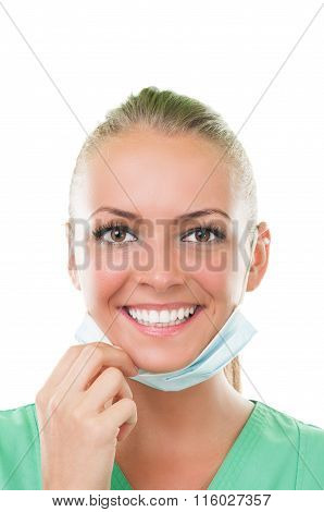 Beautiful Dentist Assistant With Perfect Smile.