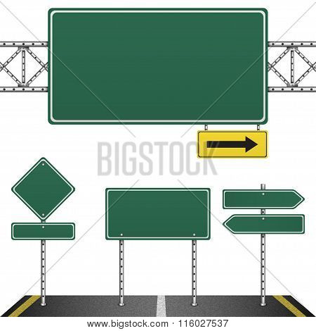 Collection of green road signs isolated on white background. Vector Illustration