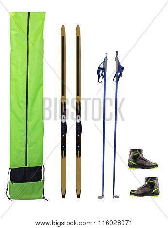 Cross-country Skis, Poles, Boots And Case