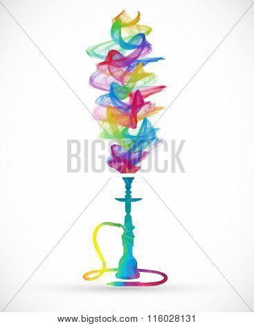 Polygonal Hookah With Colorful Smoke
