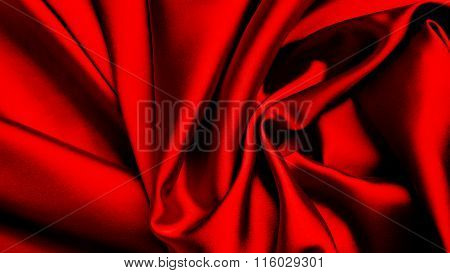 Red flag painted on silk material. red silk