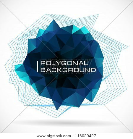 Dark Polygonal Abstract Blue Shape. Concept Of Futuristic Minimalism Style Isolated On White Backgro