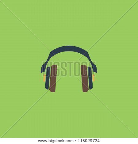retro headphone flat icon