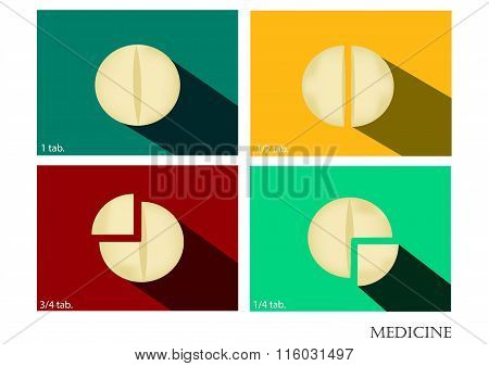 Medicine  flat icons set with long shadow ,drug vector image,abstract