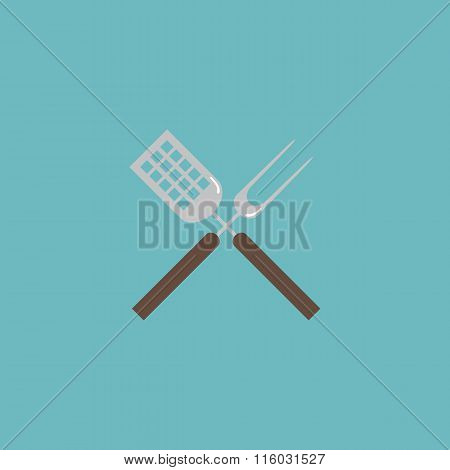 Barbecue utensils flat icon