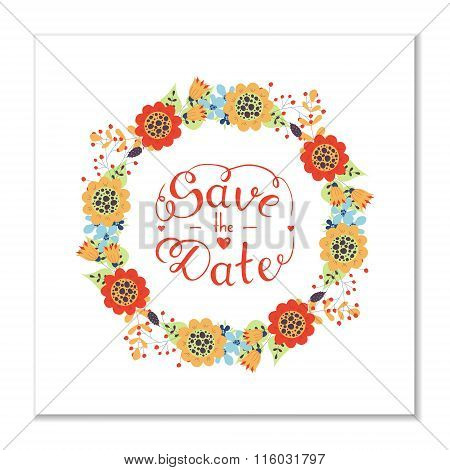 Save The Date Lettering And Wreath