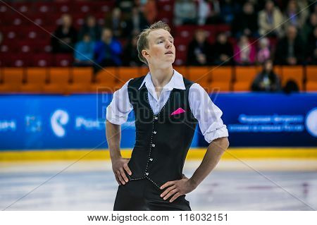 closeup of a young figure skater male