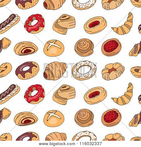 Seamless pattern with different  pastry. Different taste and color.