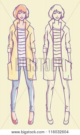 Stylish Girl Fashion Illustration