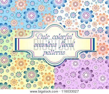 Set Of Six Seamless Floral Patterns In Different Pale Colors