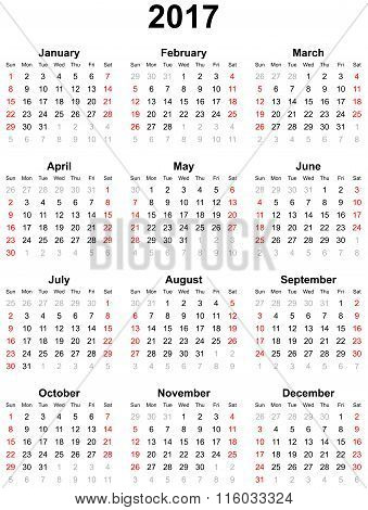 Calendar for the year 2017