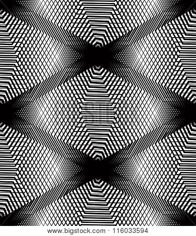 Vector Monochrome Stripy Illusive Endless Pattern, Art Continuous Geometric Background With Graphic