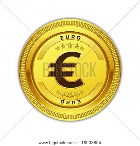 Euro Currency Sign Circular Vector Gold Web Icon Button