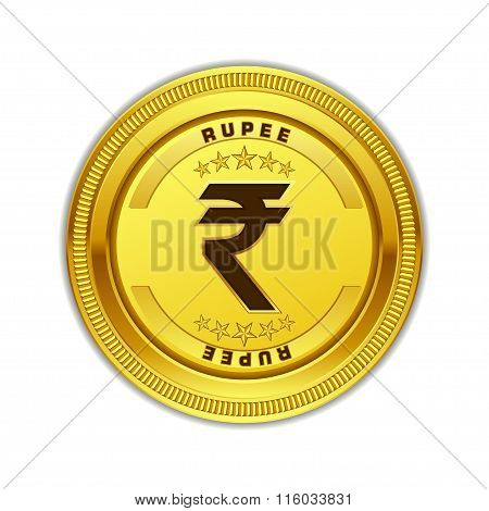 Indian Rupee Currency Sign Gold Coin Vector Icon