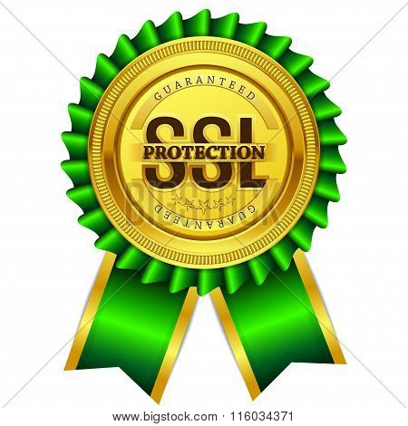 Ssl Protected Golden Vector Icon Button