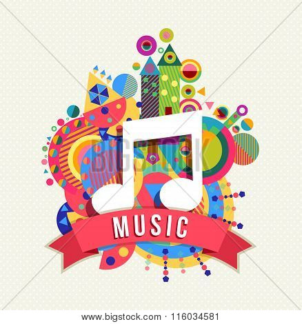 Music Note Icon, Audio Label With Color Shapes