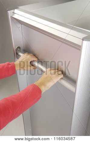 Hotel Housekeeper Pushing Cleaning Supply Cart