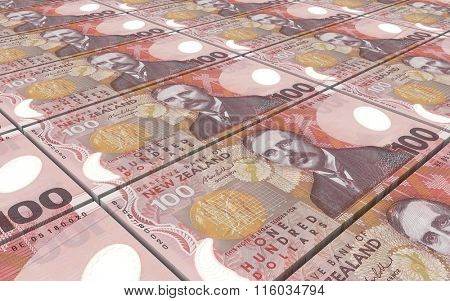 New Zealand dollar bills stacks background. Computer generated 3D photo rendering.